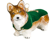 Corgi Glass Christmas Ornament Green Velvet Coat