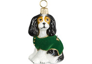 Cavalier King Charles Glass Christmas Ornament Green Velvet Coat