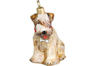 Wheaten Terrier Glass Christmas Ornament with Dog Bone Collar