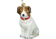 Jack Russell Terrier Glass Christmas Ornament (with Red Collar)
