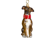Greyhound Glass Christmas Ornament Brindle