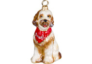 Goldendoodle Glass Christmas Ornament with Bandana