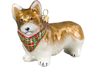 Corgi Glass Christmas Ornament with Bandana