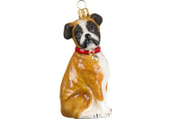 Boxer Glass Christmas Ornament (Floppy Ears)