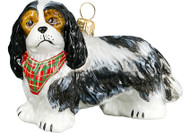 Cavalier King Charles Spaniel Glass Christmas Ornament (Tri Color Bandana)