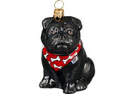 Black Pug Glass Christmas Ornament (Bandana)