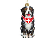 Bernese Mountain Dog Glass Christmas Ornament (Swiss Cross Bandana)
