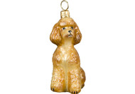Poodle Glass Christmas Ornament (Toy Apricot)