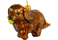Cavalier King Charles Spaniel with Tennis Ball Glass Christmas Ornament (Ruby)