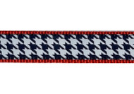 Houndstooth on Red Dog Collar and Leash