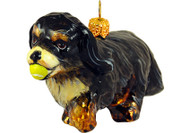 Cavalier King Charles Spaniel (Black & Tan) with Tennis Ball Glass Christmas Ornament