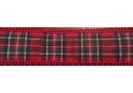 Royal Stewart Dog Collar and Leash (Red Webbing)