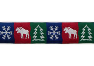 Moose Christmas Dog Collar and Leash