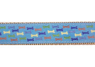 Blue Multi Colored Dog Bones Dog Collar and Leash