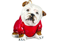Bulldog in Sweater Glass Christmas Ornament Brown and White