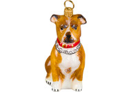 American Staffordshire Terrier Glass Christmas Ornament Tan