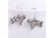 Sterling Silver Bearded Collie Earrings