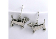 Sterling Silver Basset Hound Earrings