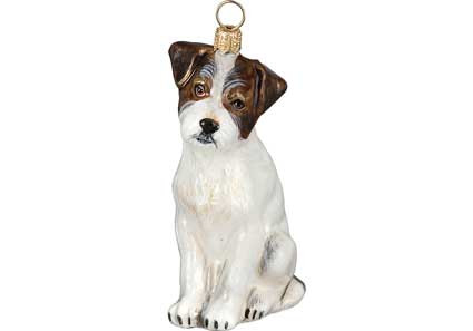 Jack Russell Glass Christmas Ornament (Rough Coat) - Jack Russell Rough Coat Glass Christmas Ornament By Joy To The World