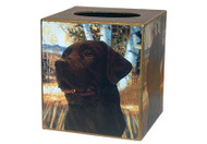 Chocolate Labrador Retriever Decoupage Tissue Box