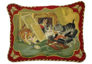 Cat Needlepoint Pillow (Three Cats with Butterfly)