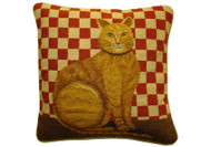 Cat Needlepoint Pillow (Red Check)