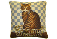 Cat Needlepoint Pillow (Blue Check)