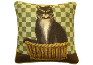 Cat Needlepoint Pillow (Green Check)