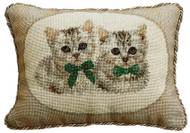 Two White Cats Needlepoint Pillow