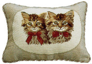 Two Brown Cats Needlepoint Pillow