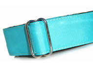 Martingale Dog Collar in Turquoise Grosgrain Ribbon