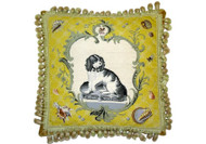 Cavalier King Charles Spaniel Dressed Needlepoint Pillow on Yellow