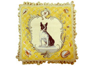 Boston Terrier Needlepoint Pillow on Yellow
