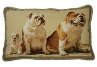 Bulldog Family Needlepoint Pillow