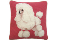 Poodle on Pink Needlepoint Pillow (white)