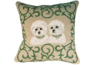 Westie Puppies Needlepoint Pillow