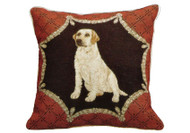 Yellow Lab Needlepoint Pillow (on Red)