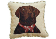 Chocolate Lab with Bandana Needlepoint Pillow