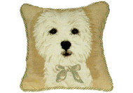 Westie with Bow Needlepoint Pillow