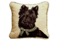 Scottie with Bow Needlepoint Pillow