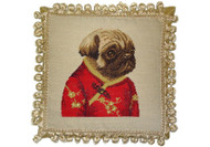 Pug Girl in Red Jacket Needlepoint Pillow
