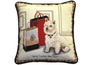 Westie with Red Bag Needlepoint Pillow