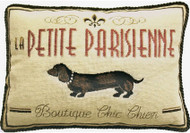 "Dachshund ""Boutique Chic Chien"" Needlepoint Pillow"