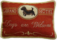 "Scottie ""Dogs Are Welcome"" Needlepoint Pillow"