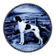 Pointer Danish Blue Dog Plate (# 2)