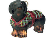 Dachshund (Black and Tan) with Tartan Plaid Coat Christmas Ornament