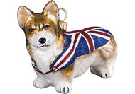 Corgi in Union Jack Sweater Christmas Ornament