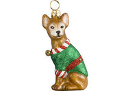 Chihuahua Santa's Little Yelper Christmas Ornament