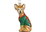 Chihuahua in Argyle Sweater Christmas Ornament