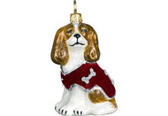 Cavalier King Charles Spaniel in Red Velvet Coat Christmas Ornament